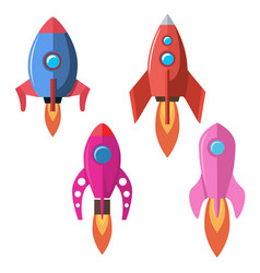 set of flat style rocket isolated on white vector image