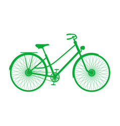 silhouette of vintage bicycle in green design vector image