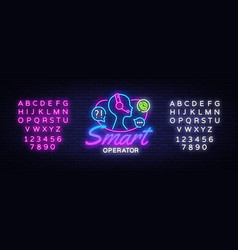 Smart operator neon sign neon call center vector