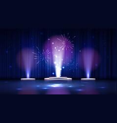 Spotlight effect blue scene background vector