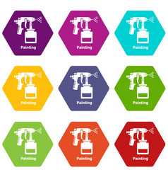 spray gun icons set 9 vector image