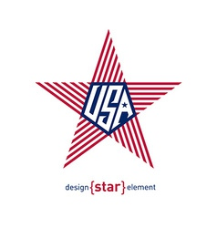 star with american flag Abstract design element vector image