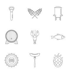 street snack icons set outline style vector image