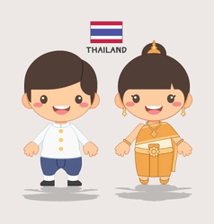 thai kids sawasdee vector image