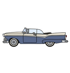 The old blue american convertible vector