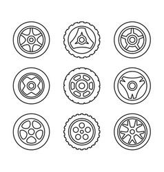 Toy car wheels set outline style vehicle disks vector