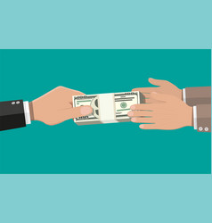 Two businessman hands giving money vector