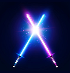 two crossed light neon swords laser sabers war vector image