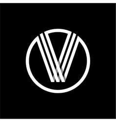 V capital letter of three white stripes enclosed vector