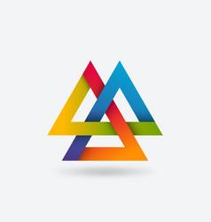 valknut symbol three interlocked triangles vector image