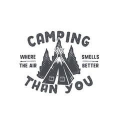 Vintage hand drawn camping badge and emblem vector