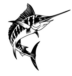 Vintage monochrome marlin fish concept vector