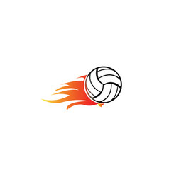 volleyball with fire and flame for logo design vector image