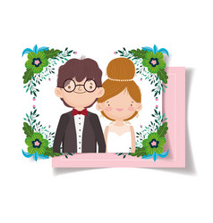wedding couple flower foliage decoration party vector image