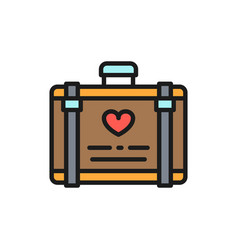 wedding luggage suitcase for honeymoon flat color vector image