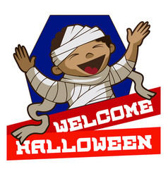 Welcome halloween logo cartoon style vector