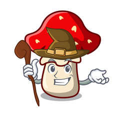 Witch amanita mushroom mascot cartoon vector