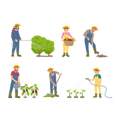 Woman and man on land set vector