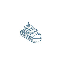 yacht boat isometric icon 3d line art technical vector image