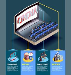cinema auditorium isometric infographics vector image vector image