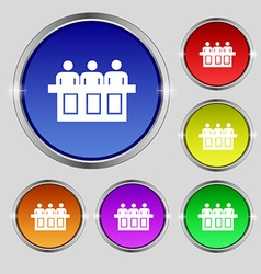 Conference icon sign round symbol on bright vector