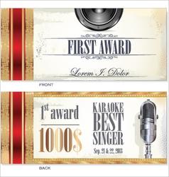 First award card karaoke template vector image vector image
