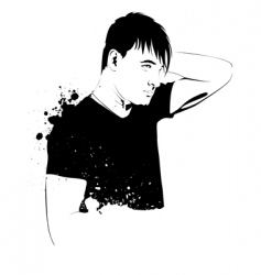 grunge illustration young handsome guy vector image vector image