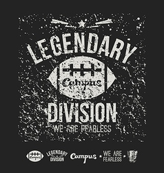 Legendary division rugby emblem and icons black vector image vector image