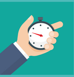man holds in his hand a sports stopwatch vector image
