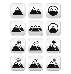 Mountain buttons set vector image vector image