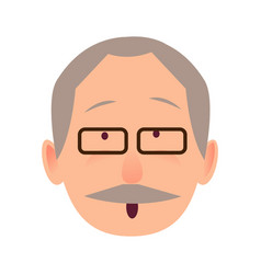 surprised face of gray-haired old man close-up vector image