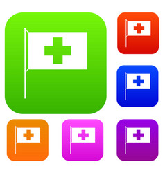 switzerland flag set collection vector image vector image