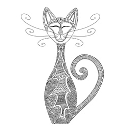 Cat in zentangle style anti-stress coloring for vector