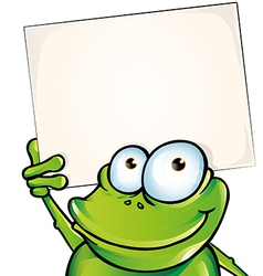 funny frog with signboard vector image vector image