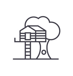 house on tree line icon sign vector image