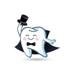 icon cartoon healthy tooth in a tuxedo and tie the vector image