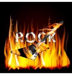 Rock guitar in flames vector image