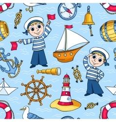 Sailors seamless pattern vector image
