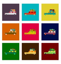 assembly of flat shading style icon car gifts vector image vector image