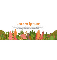 Colorful forest over white copy space woods banner vector