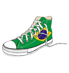 hand draw modern sport shoes with Brazil flag vector image vector image