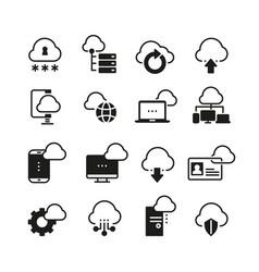 internet cloud computing icon set vector image vector image
