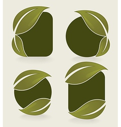 leaves stickers vector image