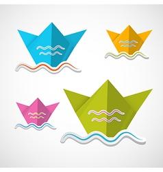 Paper Boat Origami Set vector image