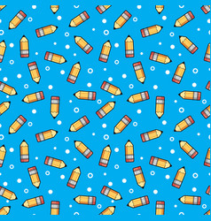 pattern yellow pencil wooden and pink eraser on a vector image