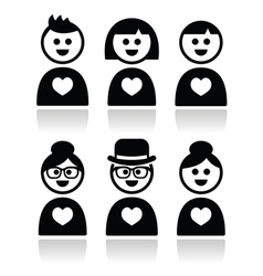Poeple in love valentines day icons set vector image vector image