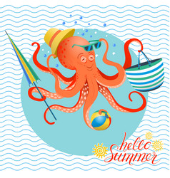 summer poster of octopus vector image