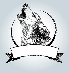 Vintage label with howling wolf vector