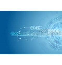 Blue bright hi-tech circuit board background vector image vector image