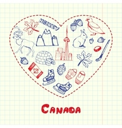 Canada Symbols Pen Drawn Doodles Collection vector image vector image